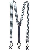 Tommy Hilfiger Men's 30mm Denim Stripe Suspenders, Navy, One Size