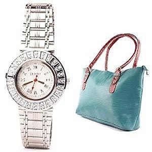 Fidato Silver Analog Women Watch And Handbag Combo 31832589