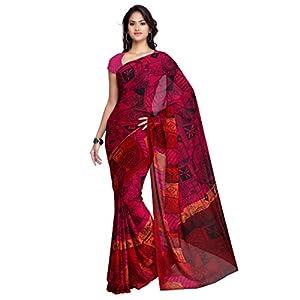 Janasya Fancy Pink Printed Saree For Women