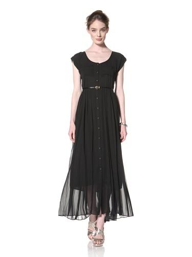 Taylor Dress Women's Long Button-Up Dress (Black)