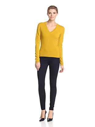 Malo Women's V-Neck Sweater (Mustard)