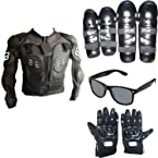 Combo of Bikers - Black + Elbow & Knee Guard + Armor Body Jacket + Riding Gloves + Sunglasses