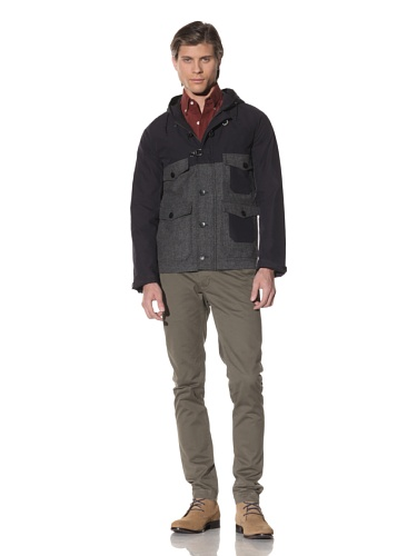 Shades of Grey by Micah Cohen Men's Two-Tone Hooded Outdoor Jacket (Navy Tech)