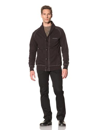 Maharishi Men's Knit Shawl Collar Sweater (Off Black)