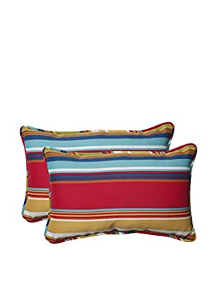 Pillow Perfect Set of 2 Indoor/Outdoor Westport Garden Lumbar Pillows, Multi