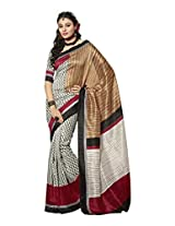 Brijraj White Black Bhagalpuri Silk Beautiful Printed Saree With Unstitch Blouse