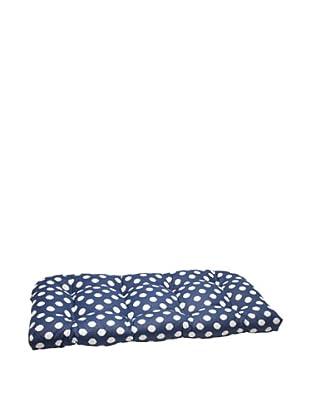 Waverly Sun-n-Shade Solar Spot Pool Wicker Loveseat Cushion (Navy/Cream)