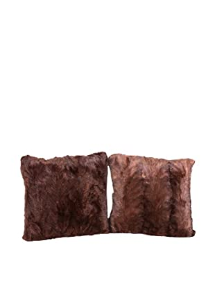 Pair of Upcycled Mink Pillows, Brown, 18