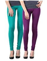 Blackmilan Women's Leggings (ZBMWL-1004-Green-Purple_Multi-Coloured_X-Large)