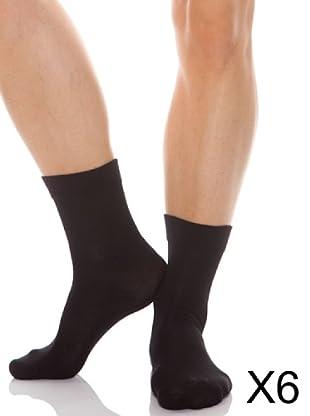 Abanderado Calcetines Algodón Pack6 (Negro)