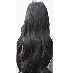 World Pride Gorgeous Long Curly Clip-On Hair Extension Wigs - Black