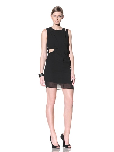 FACTORY by Erik Hart Women's Draped Chiffon Georgette Cross Front Dress (Onyx)