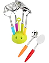 Cookstyle 7-Pieces Multicolor Kitchen Tool Set with Revolving Stand, (Random Color)
