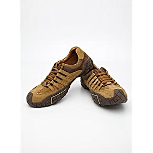 Contrast Panelled Leather Lace- Ups-Brown-6