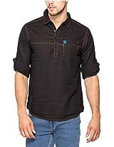 Spykar Men Cotton Black Casual Shirt (X-Large)