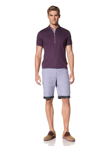 Ted Baker Men's Trendee Short Sleeve Grandad Neck Top (Deep Purple)