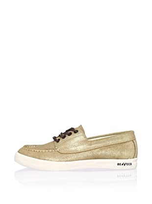 SeaVees Women's Boating Moccasin (Gold Cracked Suede)