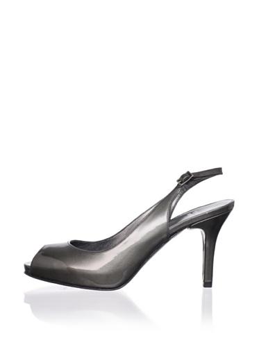 Stuart Weitzman Women's Litely Peep-Toe Slingback (Anthracite Patent)
