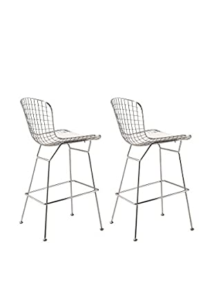 Manhattan Living Set of 2 Wire Bar Height Chairs, White