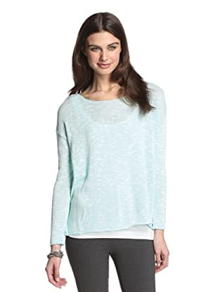 525 America Women's Boatneck Slub Sweater (Audrey Blue Combo)