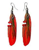 Red Funky Beaded Feather Earrings - 853.6