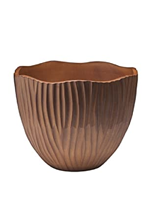 Dynasty Gallery Hand Carved Tulip Wide Vase (Brown)