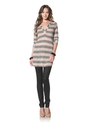 Twenty Tees Women's Striped V-Neck Tunic (Glazed Sand)