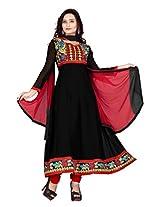 Vardhamn Women's SAKH1 Black Georgette Unstitched salwar suit dress material