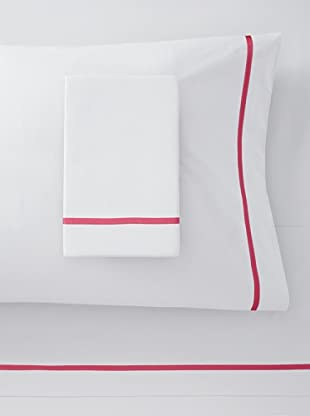 Mason Street Textiles Cross Band Sheet Set (White/Azalea)