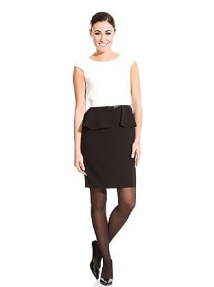 Cortefiel Vestido Péplum (Blanco / Negro)