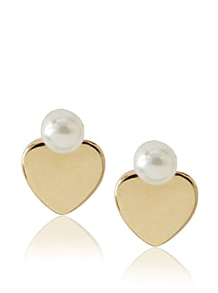 Frida Girl Gold and White Heart Pearl Studs