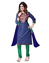 7 Colors Lifestyle Womens Cotton Dress Material (Aitdr3611Mhni -Blue -Free Size)