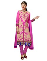 B3Fashion Traditional Party wear Semistitched Embroidered Pink Georgette Salwar Suit