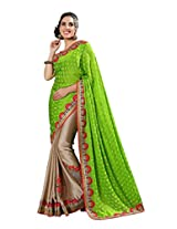 Manvaa Multi-Color Embroidered Casual Wear Jacquard Saree With Blouse Piece