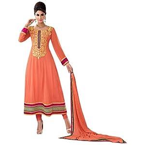 Triveni Orange Faux Georgette Embroidered Salwar Kameez TSMESK16685