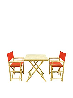 ZEW, Inc. Square Table & Director Chair Set, Red