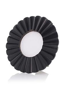 "Purva Black Horn Round Scallop Frame, 4"" x 4"""