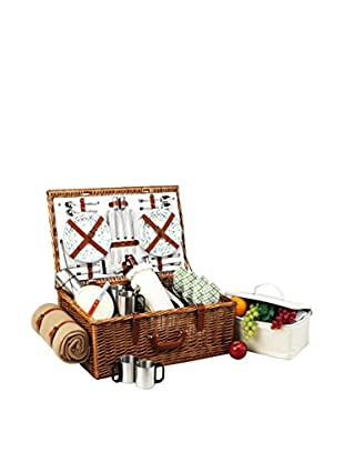 Picnic at Ascot Dorset Basket for 4 with Coffee Set & Blanket, Gazebo/Willow/Cream