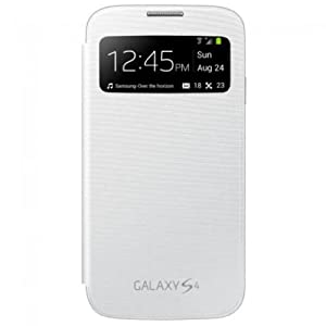 Leather Folio Flip Back Replace Cover Case S-View FOR SAMSUNG GALAXY S4 MINI I9192 White Color