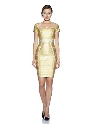 Corizzi & Absolu Vestido Gran Escote Bandas Cóctel (Oro)