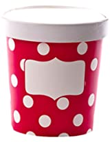 Simply Baked 16 oz. Paper To-go Food Cup with Lid (pack of 3), For Soup, Ice Cream and more, Scarlet & White Dot