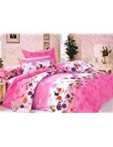Gangji Printed double cot bed sheet in pink