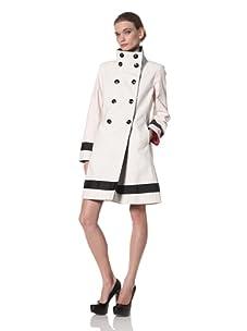 Jane Post Women's Scrunch Collar Coat with Grosgrain Trim (Vanilla)