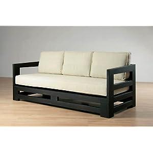 Simplistic teak sofa in dark finish