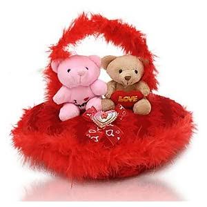 Couple on Cuddlesome Heart : Heart Shaped Soft Toys
