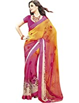 Magenta Yellow Georgette jacquard Printed saree from G3 Fashions