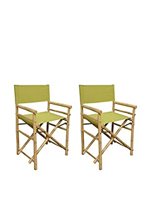 ZEW, Inc. Set of 2 Bamboo Director Chairs, Olive Green