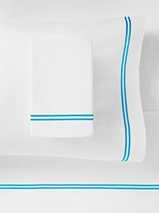Mason Street Textiles Two Cord Sheet Set (White/Artic Blue)