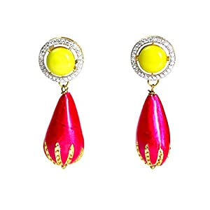 Daamak Jewellery Yellow Stone Pink Drop Earring