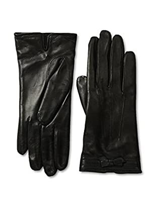 Portolano Women's Corded Bow Leather Gloves (Black/Black)